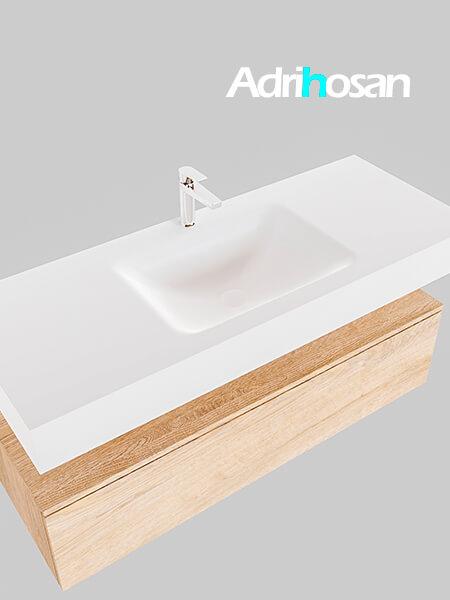 Badmeubel met solid surface wastafel model Google ALAN wit kast washed oak0012 1