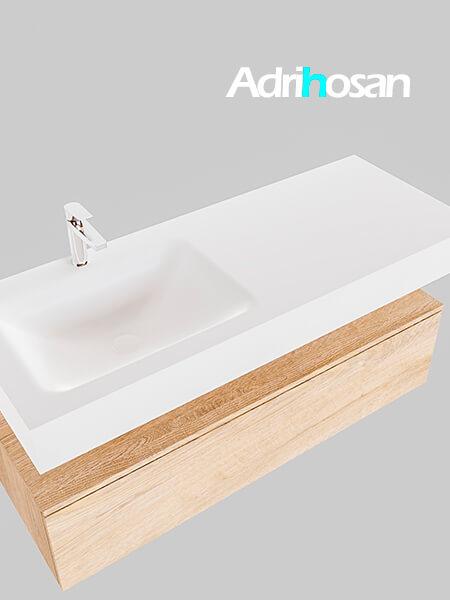 Badmeubel met solid surface wastafel model Google ALAN wit kast washed oak0013 1