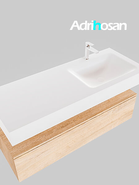 Badmeubel met solid surface wastafel model Google ALAN wit kast washed oak0014 1