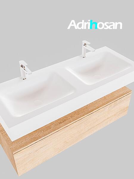 Badmeubel met solid surface wastafel model Google ALAN wit kast washed oak0015 1