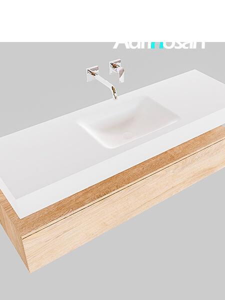 Badmeubel met solid surface wastafel model Google ALAN wit kast washed oak0016 1