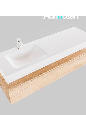 Badmeubel met solid surface wastafel model Google ALAN wit kast washed oak0021 1