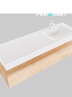 Badmeubel met solid surface wastafel model Google ALAN wit kast washed oak0022 1