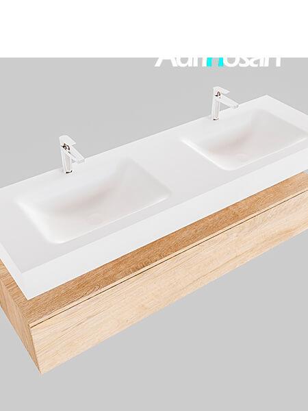 Badmeubel met solid surface wastafel model Google ALAN wit kast washed oak0023 1