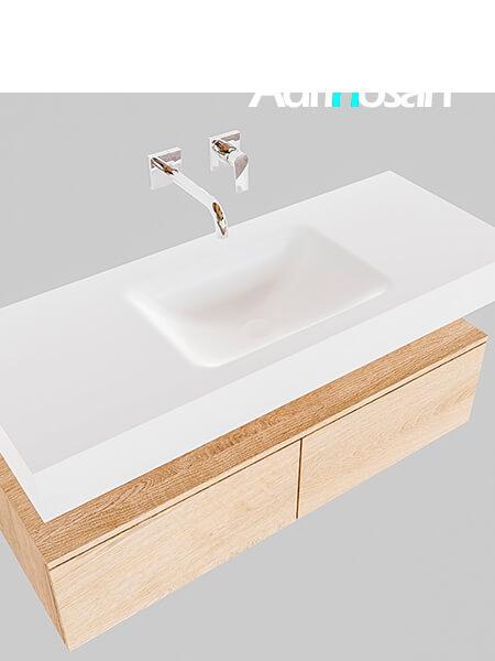 Badmeubel met solid surface wastafel model Google ALAN wit kast washed oak0024 1
