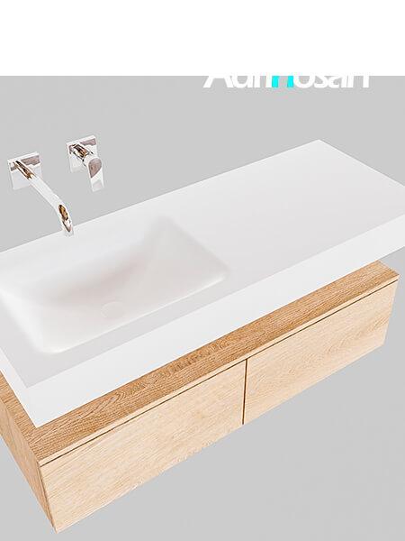 Badmeubel met solid surface wastafel model Google ALAN wit kast washed oak0025 1