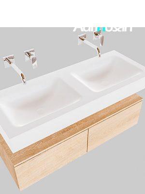 Badmeubel met solid surface wastafel model Google ALAN wit kast washed oak0027 1