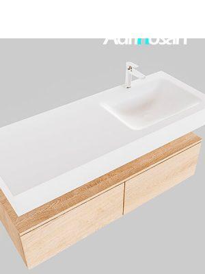 Badmeubel met solid surface wastafel model Google ALAN wit kast washed oak0030 1