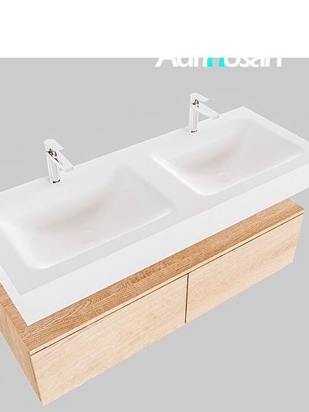 Badmeubel met solid surface wastafel model Google ALAN wit kast washed oak0031 1