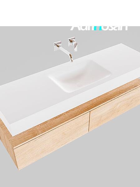Badmeubel met solid surface wastafel model Google ALAN wit kast washed oak0032 1