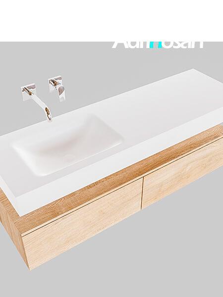 Badmeubel met solid surface wastafel model Google ALAN wit kast washed oak0033 1