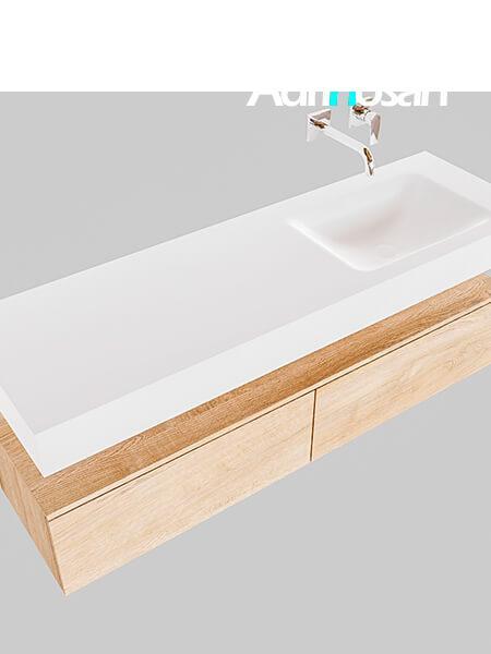 Badmeubel met solid surface wastafel model Google ALAN wit kast washed oak0034 1