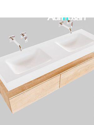 Badmeubel met solid surface wastafel model Google ALAN wit kast washed oak0035 1