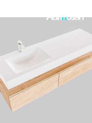 Badmeubel met solid surface wastafel model Google ALAN wit kast washed oak0037 1