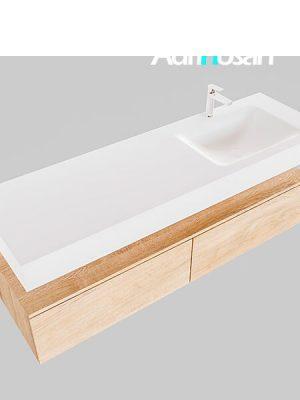 Badmeubel met solid surface wastafel model Google ALAN wit kast washed oak0038 1