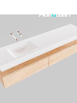 Badmeubel met solid surface wastafel model Google ALAN wit kast washed oak0041 1