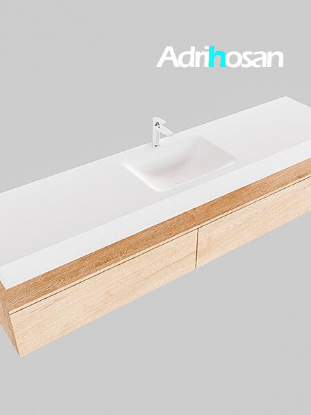 Badmeubel met solid surface wastafel model Google ALAN wit kast washed oak0044 1
