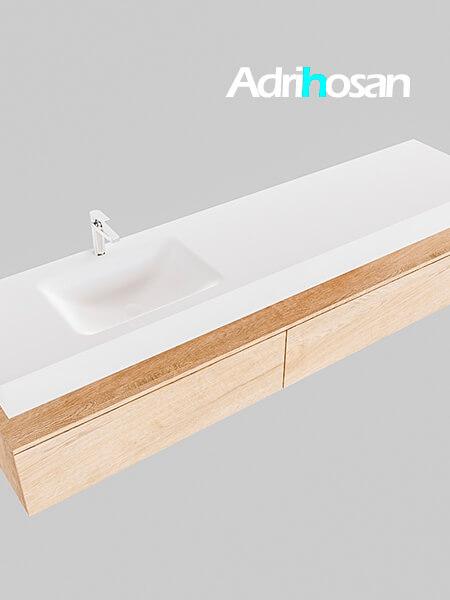 Badmeubel met solid surface wastafel model Google ALAN wit kast washed oak0045 1