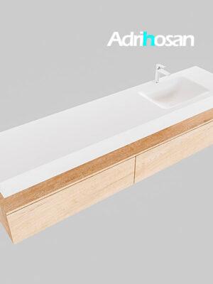 Badmeubel met solid surface wastafel model Google ALAN wit kast washed oak0046 1