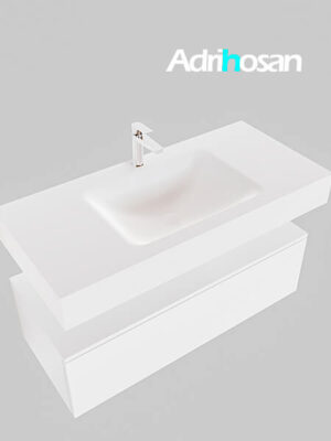 Badmeubel met solid surface wastafel model Google ALAN wit kast wit0005 1