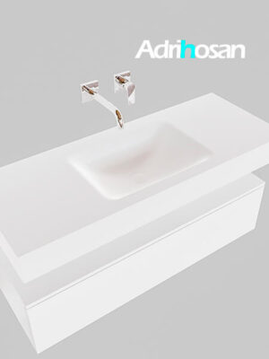 Badmeubel met solid surface wastafel model Google ALAN wit kast wit0008 1