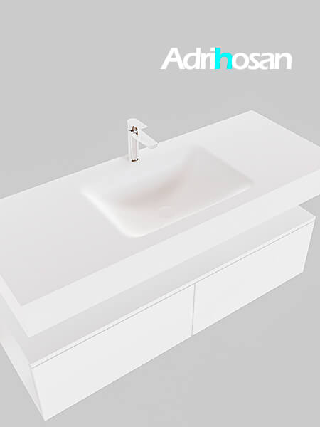 Badmeubel met solid surface wastafel model Google ALAN wit kast wit0028 1