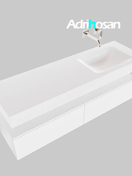 Badmeubel met solid surface wastafel model Google ALAN wit kast wit0034 1