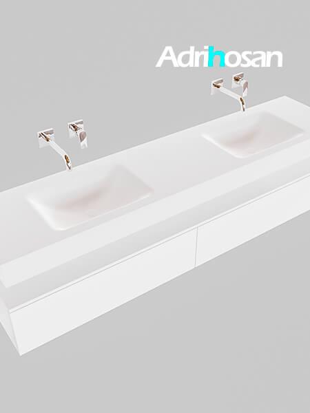 Badmeubel met solid surface wastafel model Google ALAN wit kast wit0043 1