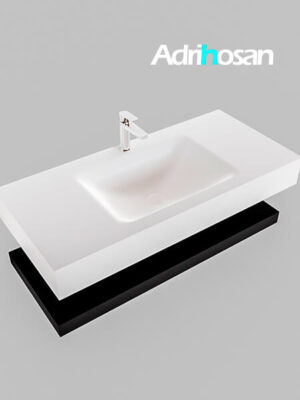 Badmeubel met solid surface wastafel model Google ALAN wit planchet mat zwart0005 1
