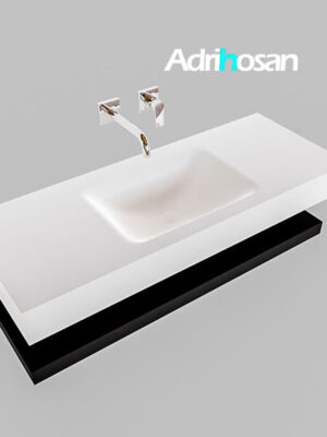 Badmeubel met solid surface wastafel model Google ALAN wit planchet mat zwart0008 1