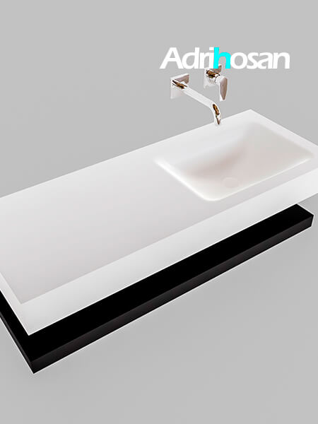 Badmeubel met solid surface wastafel model Google ALAN wit planchet mat zwart0010 1