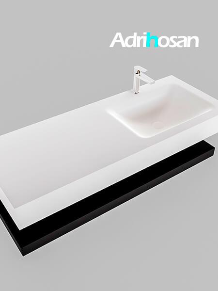 Badmeubel met solid surface wastafel model Google ALAN wit planchet mat zwart0014 1