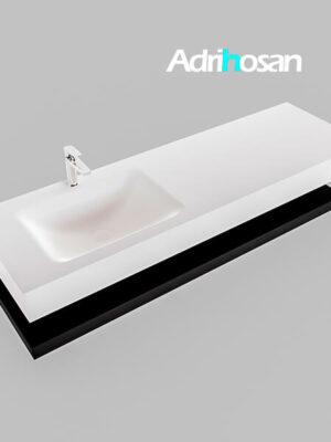 Badmeubel met solid surface wastafel model Google ALAN wit planchet mat zwart0021 1