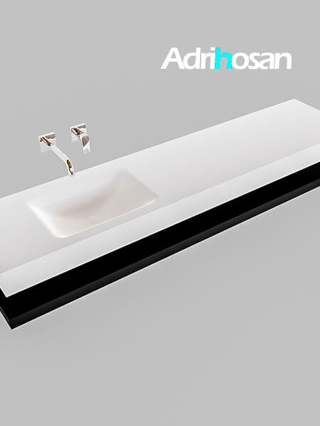 Badmeubel met solid surface wastafel model Google ALAN wit planchet mat zwart0041 1