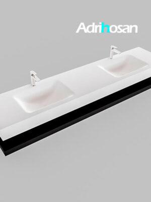 Badmeubel met solid surface wastafel model Google ALAN wit planchet mat zwart0047 1