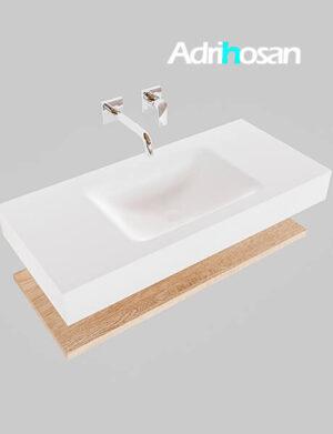 Badmeubel met solid surface wastafel model Google ALAN wit planchet washed oak0002 1