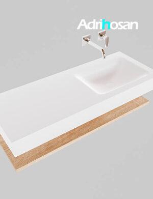 Badmeubel met solid surface wastafel model Google ALAN wit planchet washed oak0010 1
