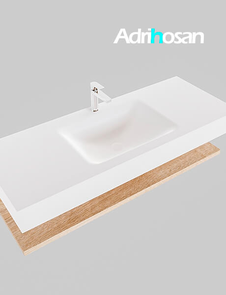 Badmeubel met solid surface wastafel model Google ALAN wit planchet washed oak0012 1
