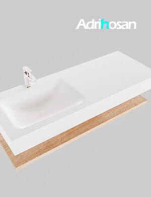 Badmeubel met solid surface wastafel model Google ALAN wit planchet washed oak0013 1