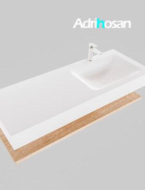 Badmeubel met solid surface wastafel model Google ALAN wit planchet washed oak0014 1