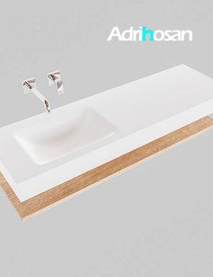 Badmeubel met solid surface wastafel model Google ALAN wit planchet washed oak0017 1