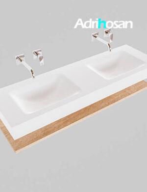 Badmeubel met solid surface wastafel model Google ALAN wit planchet washed oak0019 1