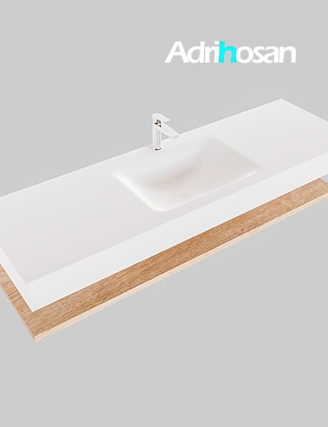 Badmeubel met solid surface wastafel model Google ALAN wit planchet washed oak0020 1