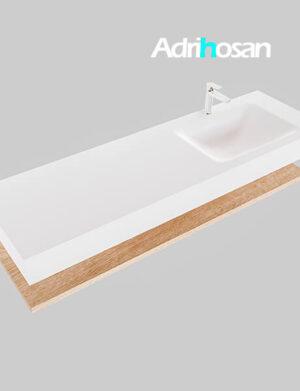 Badmeubel met solid surface wastafel model Google ALAN wit planchet washed oak0022 1
