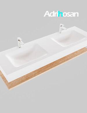 Badmeubel met solid surface wastafel model Google ALAN wit planchet washed oak0023 1