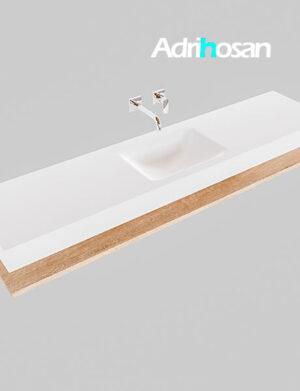 Badmeubel met solid surface wastafel model Google ALAN wit planchet washed oak0040 1