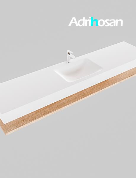 Badmeubel met solid surface wastafel model Google ALAN wit planchet washed oak0044 1