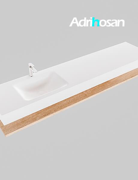 Badmeubel met solid surface wastafel model Google ALAN wit planchet washed oak0045 1