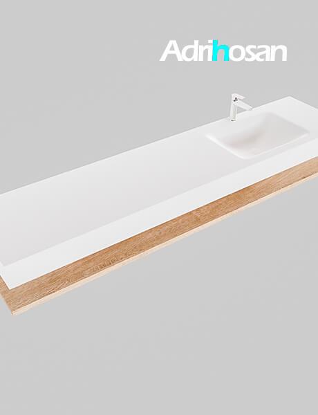 Badmeubel met solid surface wastafel model Google ALAN wit planchet washed oak0046 1