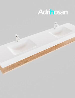 Badmeubel met solid surface wastafel model Google ALAN wit planchet washed oak0047 1